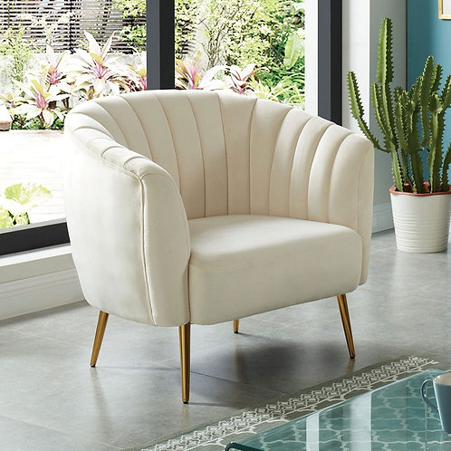 DIONNE Imprad Contemporary Ivory Chair w/Gold Legs