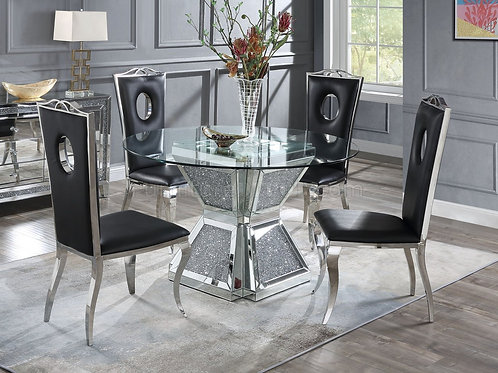 All 72960 Noralie Round Glass Mirrored Dining Table