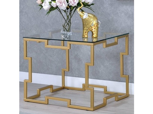 JOSEPHINE Imprad Contemporary Glass w/Gold Base End Table