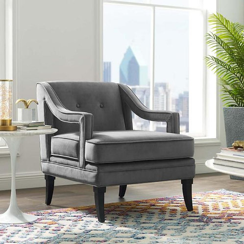 Concur Mod Button Tufted Performance Velvet Armchair in Gray