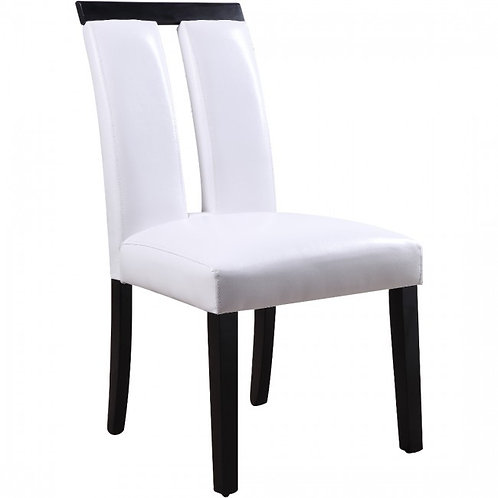Bernice All White PU / Black Finish Side Chair