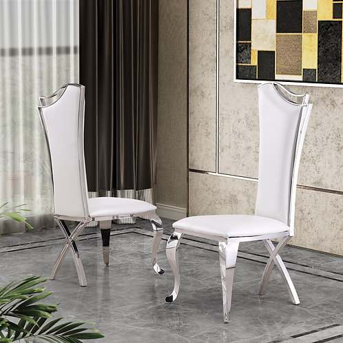Best SC34 White Leather Side Chair
