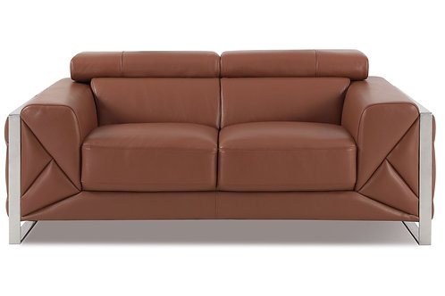 903 Geo Italian Leather Camel Loveseat