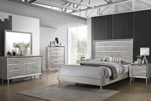 Cali Ramon Glam Metallic Sterling finish Bed Frame