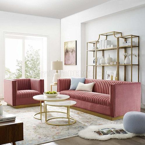Sanguine Mod Vertical Tufted Velvet Sofa in Dusty Rose