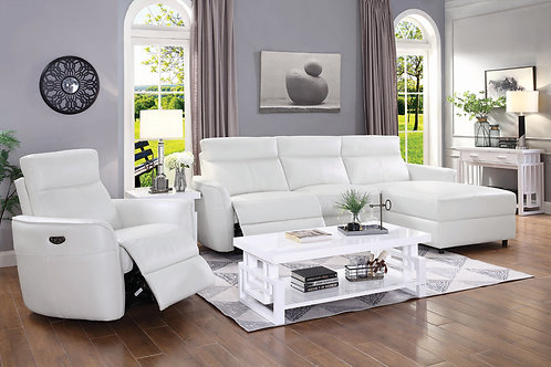 Cecelia Cali Power 2 Sectional With Headrest White