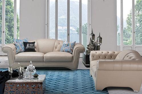 698 AE Peach Italian Leather Sofa