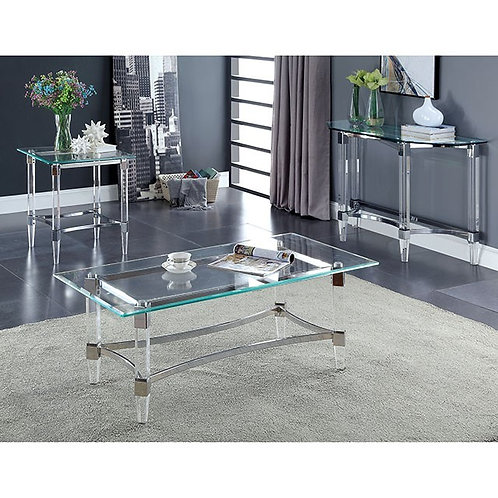 BEAUMARIS Imprad Acrylic Clear Chrome Glass Contemporary Coffee Table