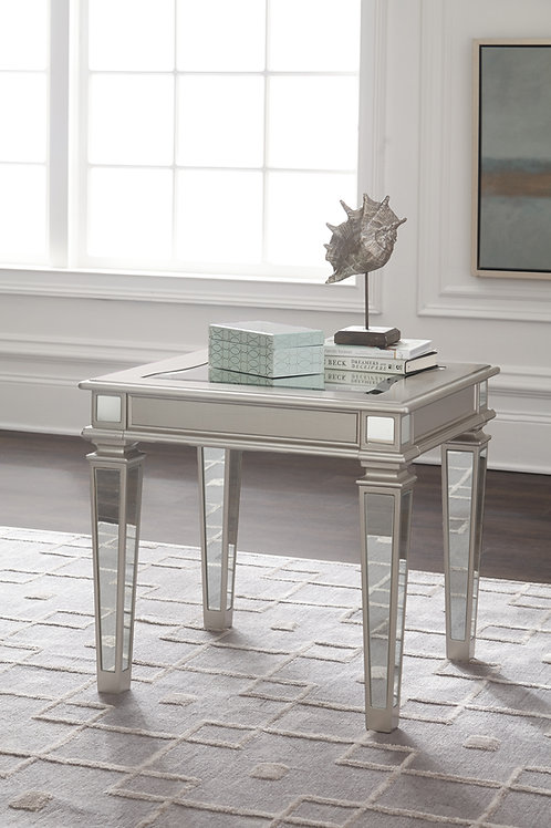 Tessani Angel Silver Mirrored Rectangular End Table
