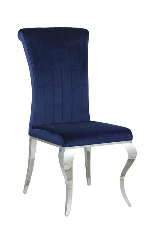 Carone Cali Upholstered Side Chair Ink Blue And Chrome