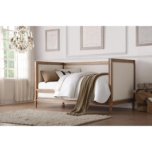 Charlton All Cream Linen & Salvage Oak Finish Bed