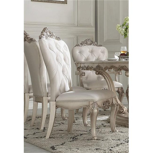 Gorsedd All Antique White Finish Side Chair Cream Fabric