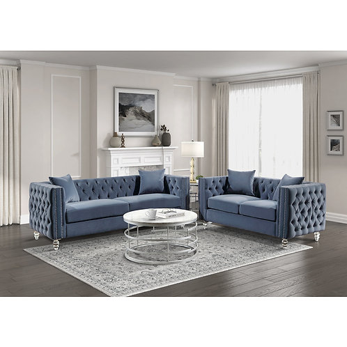 Henry 9349DBU Glam Blue Velvet Sofa with Crystal Legs/Nailheads