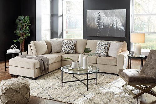 Decelle Angel Beige Fabric Sectional with Left Facing Chaise