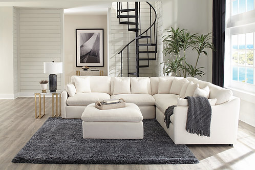 Hobson Cali Off-White Sectional ( 2 Armless, Corner, 1 RAF, 1 LAF Chairs)