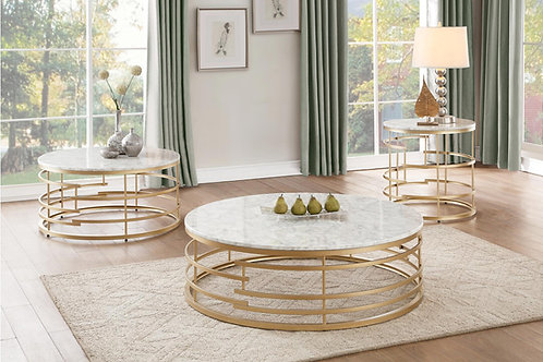 Brassica Henry Round Faux Marble Table with Gold Base