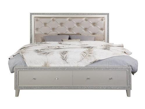All Sliverfluff Glam Champagne Finish Bed Frame w/Storage
