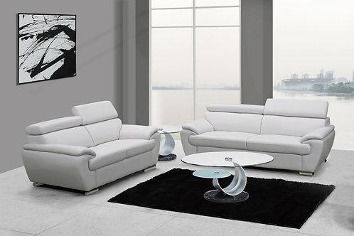 4571 Geo White Leather Sofa