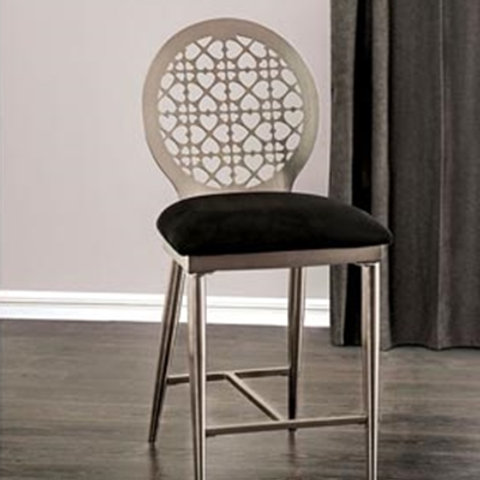ABNER Imprad Industrial Black Microfiber-Steel Counter Ht. Side Chair