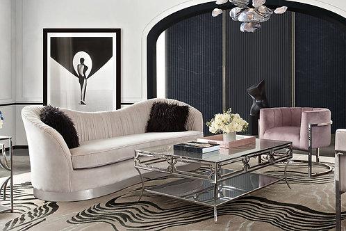 Pandora Dream Moondust Velvet Sofa with 2 pillows