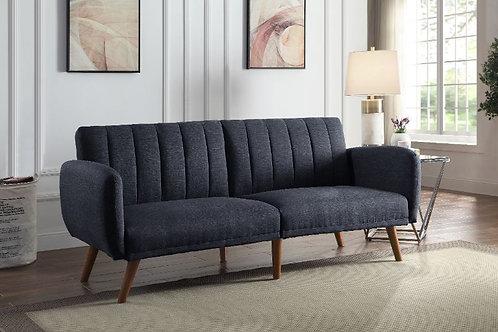 All BERNSTEIN 57192 GRAY LINEN & WALNUT FINISH Adjustable Sofa