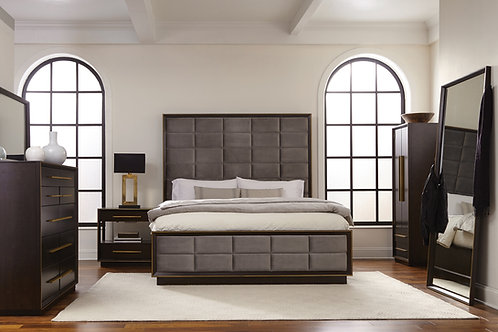 Durango Cali Upholstered Bed Smoked Peppercorn And Grey