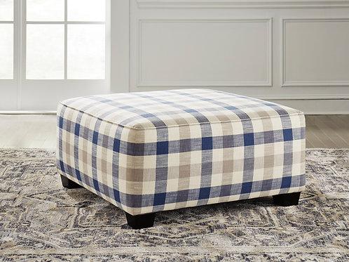 Meggett Angel Casual Blue Pattern Linen Oversized Ottoman