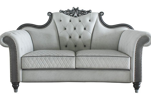 All House of Delphine Ivory Fabric, Beige PU & Charcoal Finish Loveseat