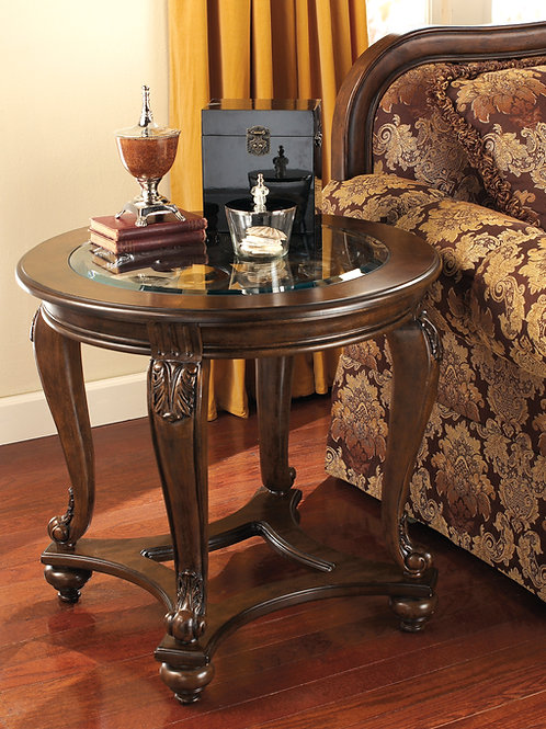 Angel Norcastle Traditional Dark Brown Glass Round End Table
