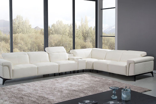 95 AE White Italian Leather 4-piece Sectional