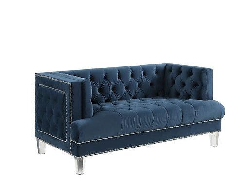 All ANSARIO BLUE VELVET Tufted Acrylic Leg Loveseat