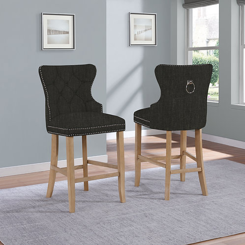 Best BS76 Black Tufted Backrest & Nailhead Trim Barstool w/Ring Handle
