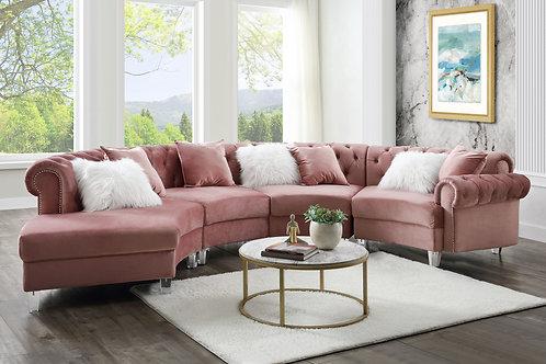 All Pink Velvet - Acrylic Legs Sectional Sofa w/7 Pillows
