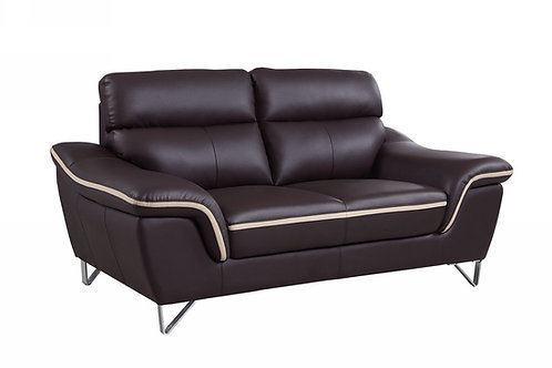 168 Geo Modern Leather Brown Loveseat