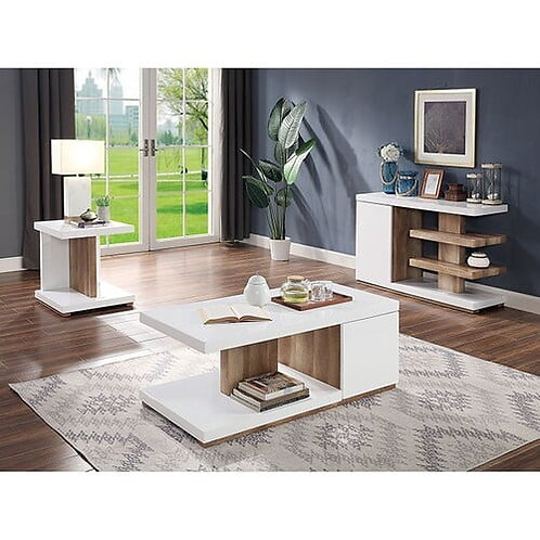 Moa Imprad Contemporary White Gloss/Natural Tone Coffee Table