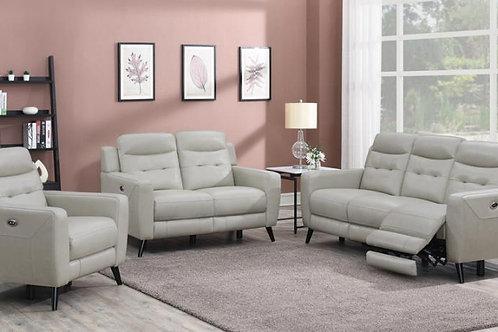 Lantana Cali Top Grain Leather Reclining  Power Sofa Beige