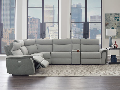 Marone Henry Taupe Gray Power Reclining Sectional w/ USB