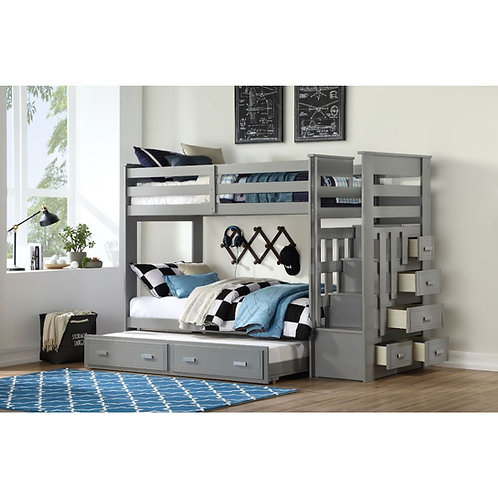 Allentown All Bunk Bed & Trundle (Twin/Twin & Storage) Gray