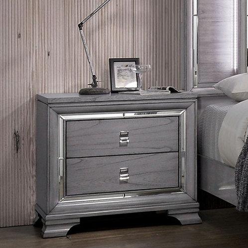 ALANIS Imprad Light Gray Mirrored Trim Night Stand