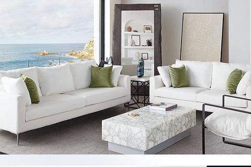 Dream Seattle Contemporary White Linen Sofa