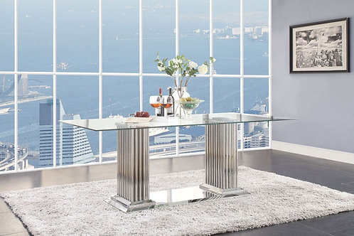 All Cyrene 62075 Stainless Steel & Clear Glass Dining Table