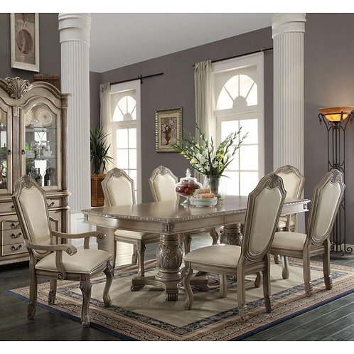 Chateau All Antique White Finish Dining Table