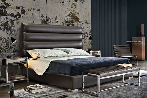 Bardot Dream Grey Faux Leather Bed