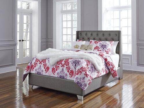 Coralayne Angel Gray Vinyl Upholstery Bed