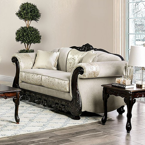 NEWDALE Imprad Ivory Traditional Loveseat