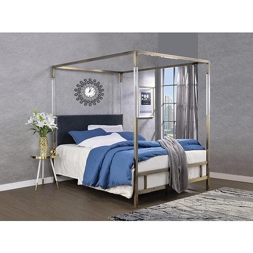 Raegan All Gray Velvet and Antique Brass Bed