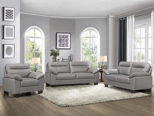 Denizen Henry Gray Leather Sofa Modern