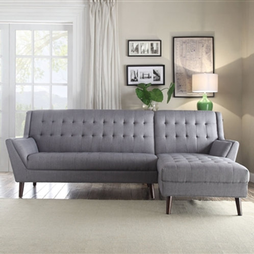 All Watonga Sectional Sofa Light Gray Linen Mid-Century
