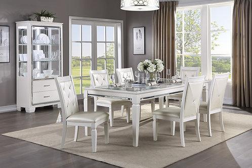 Allura Henry White Table w/ Glass Insert
