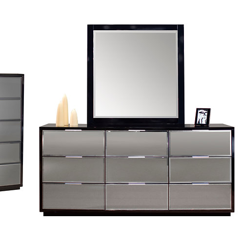 Mera Shar Black Lacquer with Beveled Mirror Dresser and Mirror